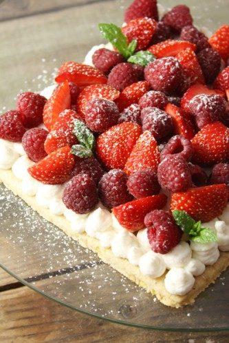 Biscuit aux pistaches, crème ricotta et noix de coco, fraises et framboises
