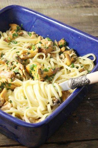 Linguine aux champignons des bois, crème, ail et ciboulette