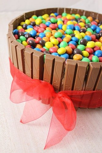 Gâteau d'anniversaire enfant: léo ou kitkat et m&ms