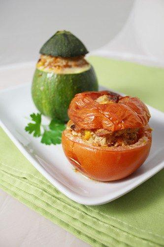 Tomates et courgettes farcies à la façon de Déborah: haché, chorizo, concentré de tomates…