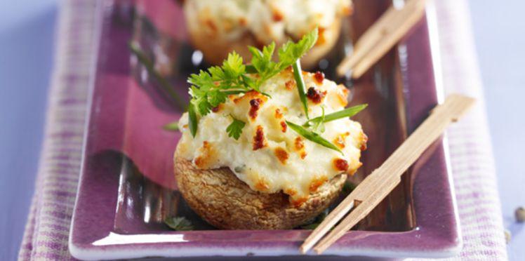 Champignons farcis au fromage frais et curry
