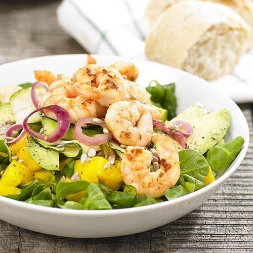Salade de lentilles vertes aux scampis au curry