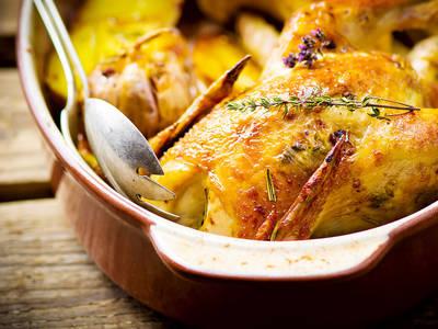 Poulet rôti aux légumes d'hiver