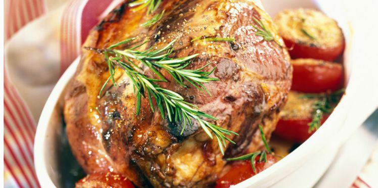 Gigot d'agneau au miel de romarin et au thym frais