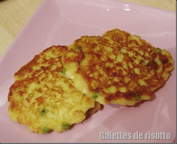 Galettes de risotto aux petits pois et lardons