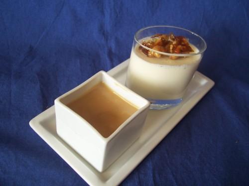 Panna cotta noix et caramel balsamique
